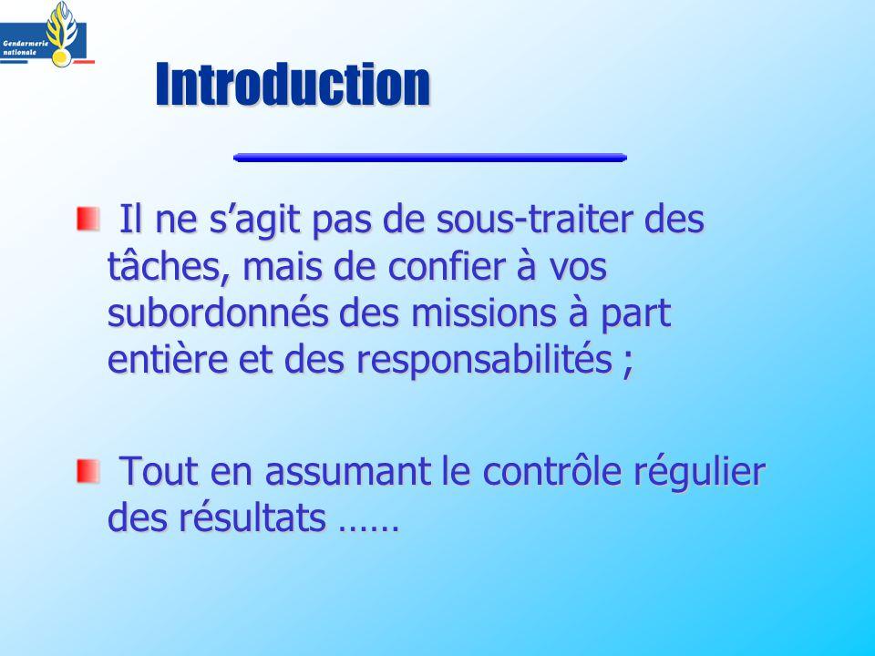 Introduction Il ne s'agit pas de sous-traiter des tâches, mais de confier à vos subordonnés des missions à part entière et des responsabilités ;