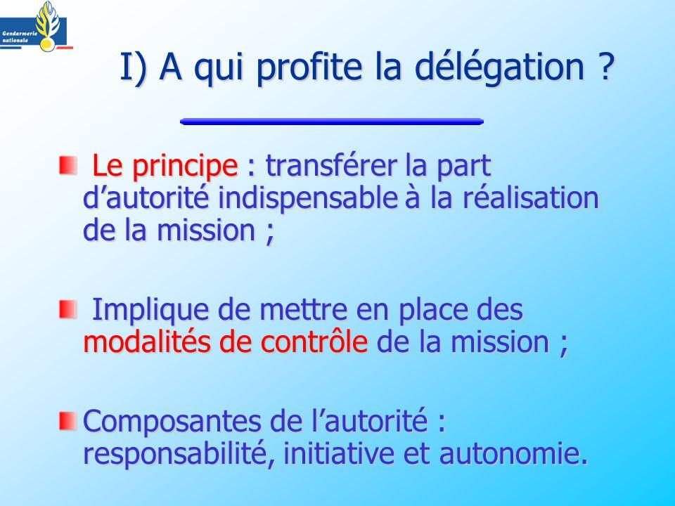 I) A qui profite la délégation