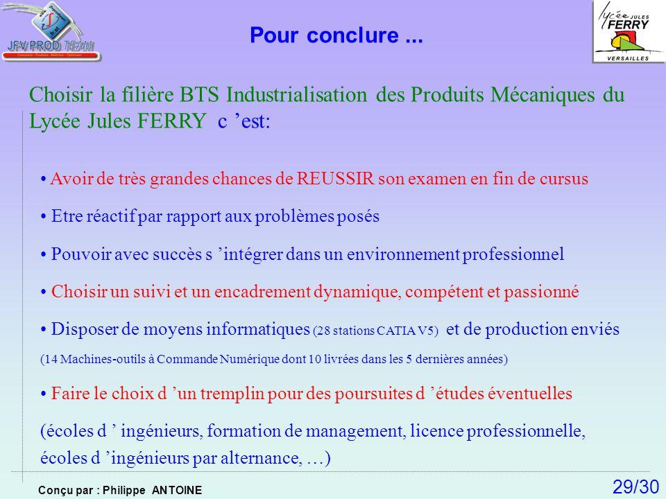 Pour conclure ... Choisir la filière BTS Industrialisation des Produits Mécaniques du Lycée Jules FERRY c 'est: