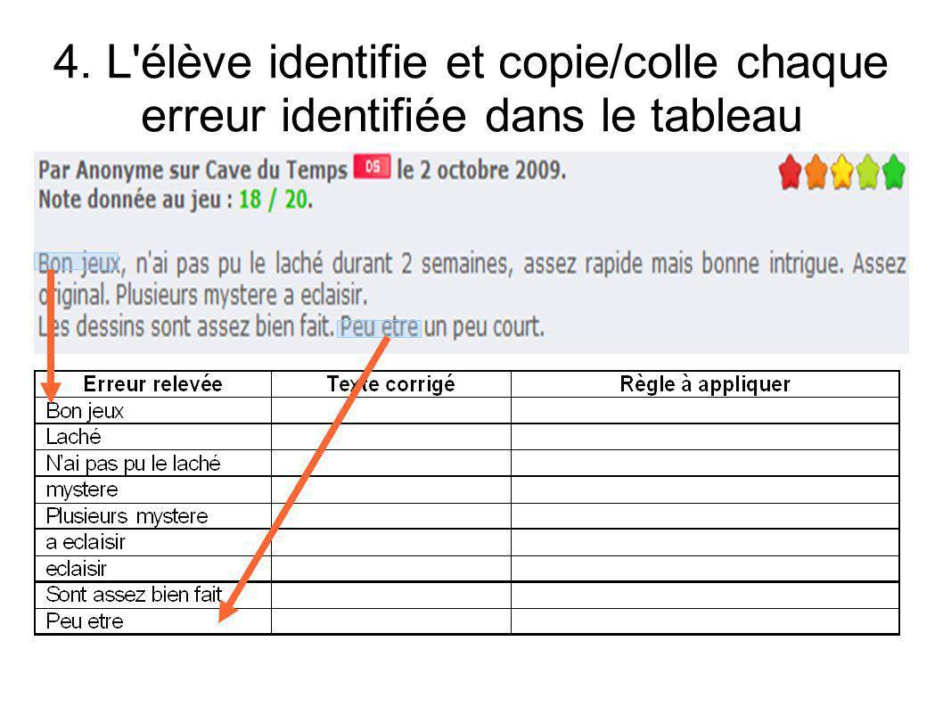 4. L élève identifie et copie/colle chaque erreur identifiée dans le tableau