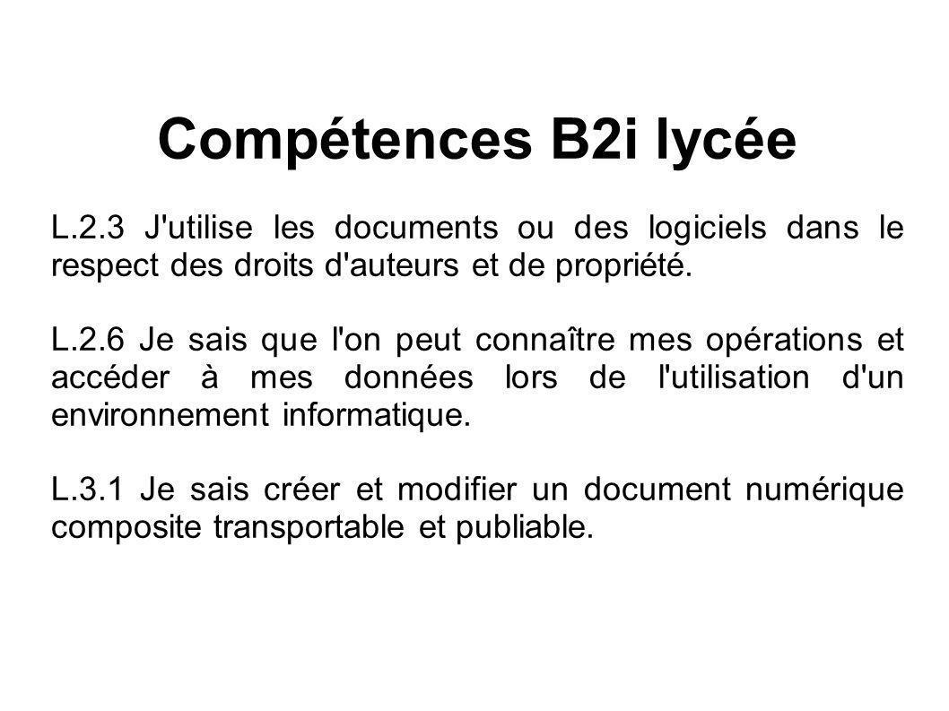 Compétences B2i lycée L.2.3 J utilise les documents ou des logiciels dans le respect des droits d auteurs et de propriété.