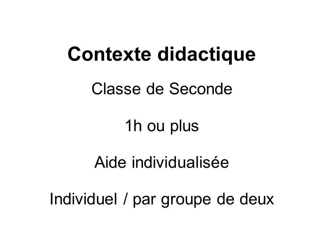 Individuel / par groupe de deux