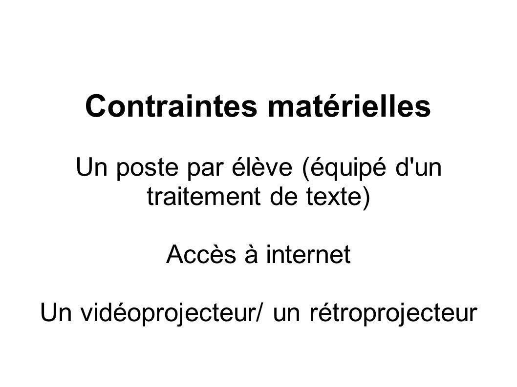 Contraintes matérielles