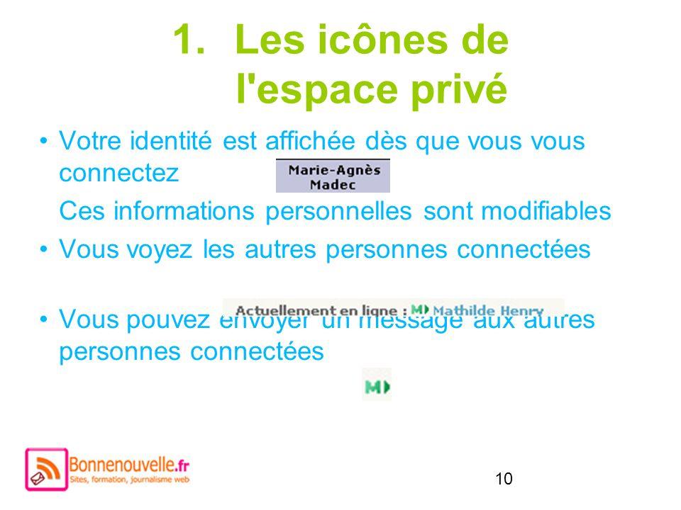 Les icônes de l espace privé