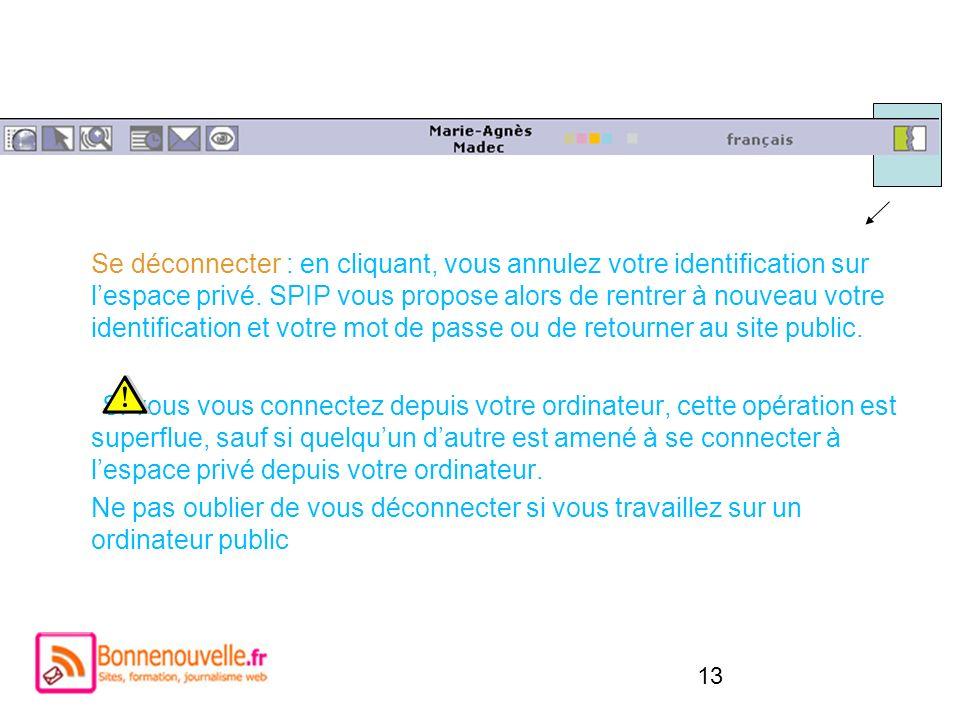 Se déconnecter : en cliquant, vous annulez votre identification sur l'espace privé. SPIP vous propose alors de rentrer à nouveau votre identification et votre mot de passe ou de retourner au site public.