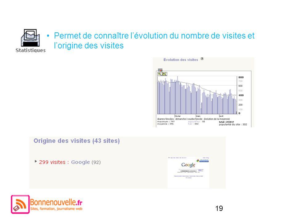 Permet de connaître l'évolution du nombre de visites et l'origine des visites