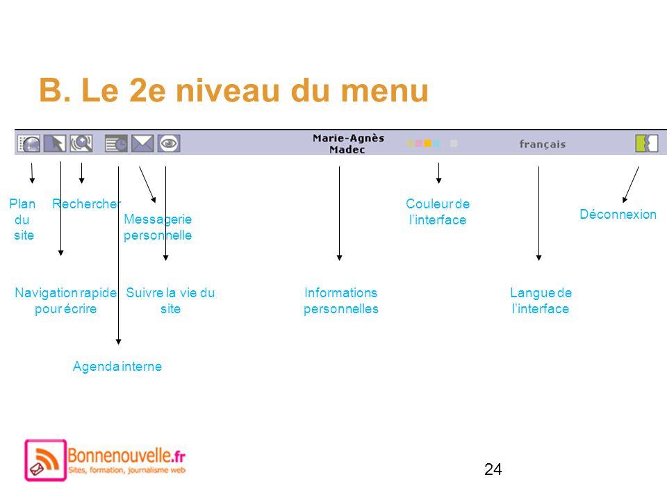 B. Le 2e niveau du menu Plan du site Rechercher Couleur de l'interface