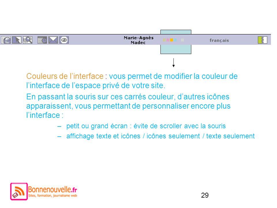 Couleurs de l'interface : vous permet de modifier la couleur de l'interface de l'espace privé de votre site.