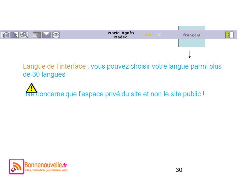 Langue de l'interface : vous pouvez choisir votre langue parmi plus de 30 langues