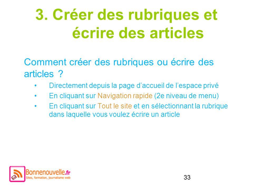 3. Créer des rubriques et écrire des articles