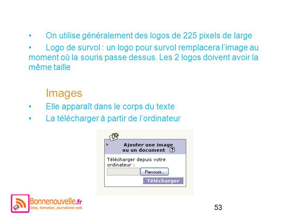 Images On utilise généralement des logos de 225 pixels de large