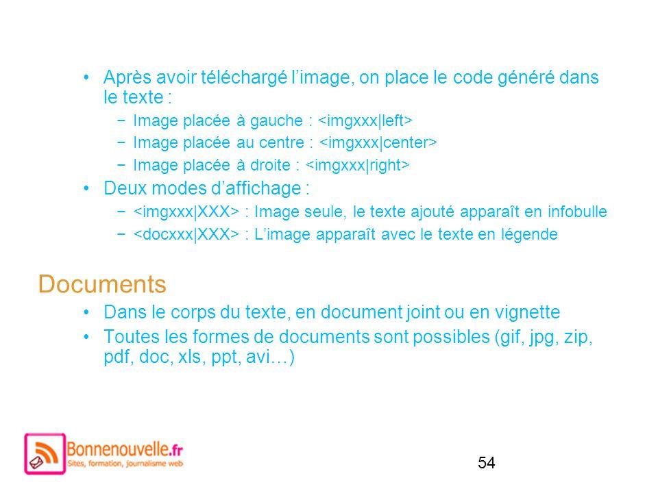 Après avoir téléchargé l'image, on place le code généré dans le texte :