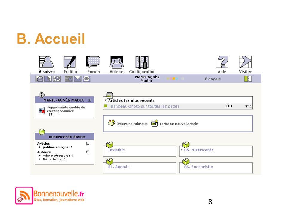 B. Accueil