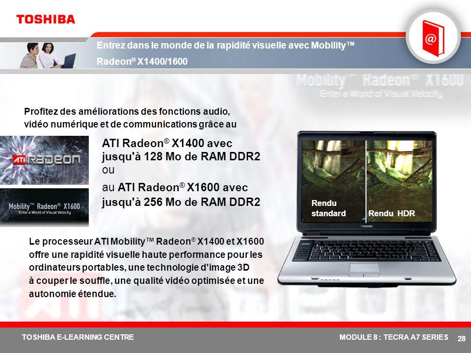 ATI Radeon® X1400 avec jusqu à 128 Mo de RAM DDR2 ou