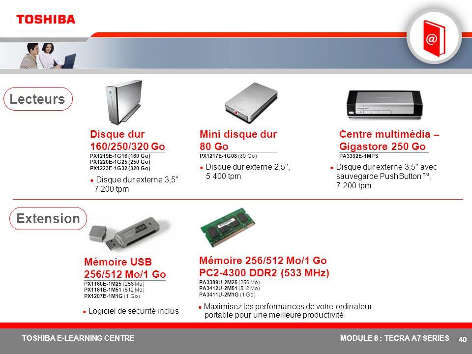 Lecteurs Disque dur 160/250/320 Go PX1219E-1G16 (160 Go) PX1220E-1G25 (250 Go) PX1223E-1G32 (320 Go)