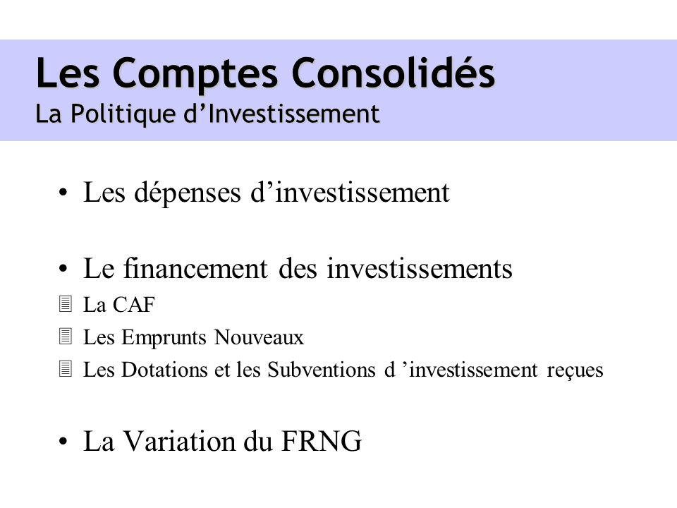 Les Comptes Consolidés La Politique d'Investissement