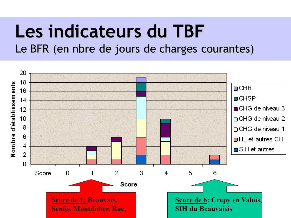 Les indicateurs du TBF Le BFR (en nbre de jours de charges courantes)