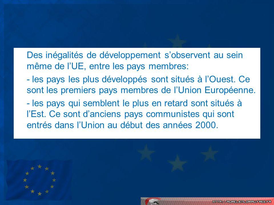 Des inégalités de développement s'observent au sein même de l'UE, entre les pays membres: