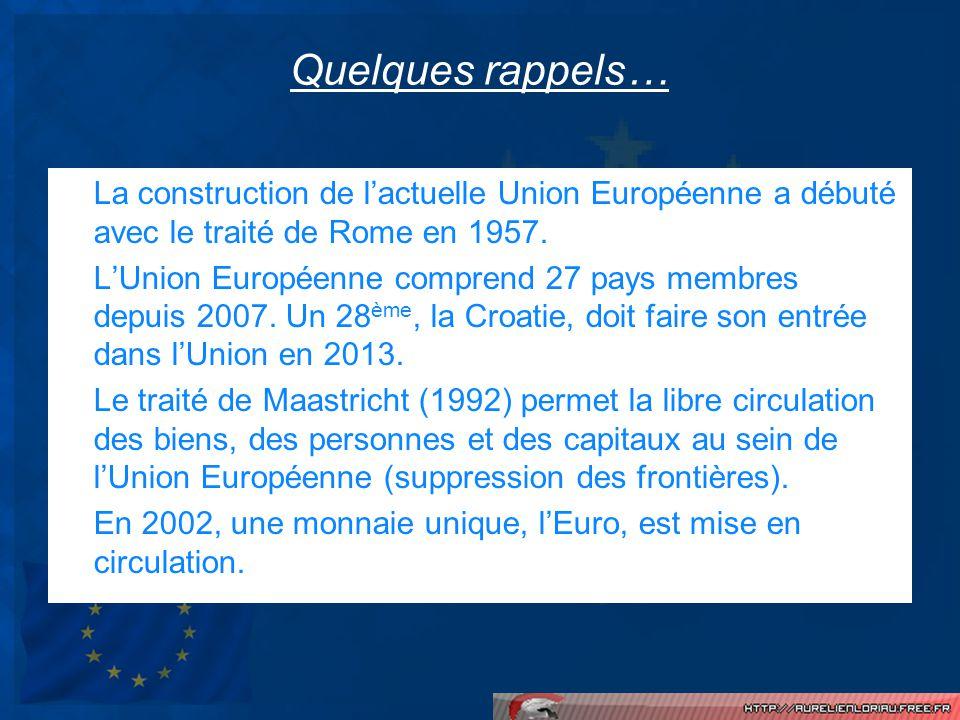 Quelques rappels… La construction de l'actuelle Union Européenne a débuté avec le traité de Rome en 1957.
