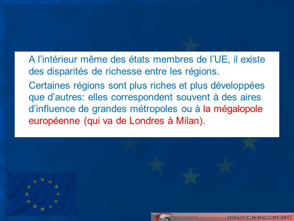 A l'intérieur même des états membres de l'UE, il existe des disparités de richesse entre les régions.