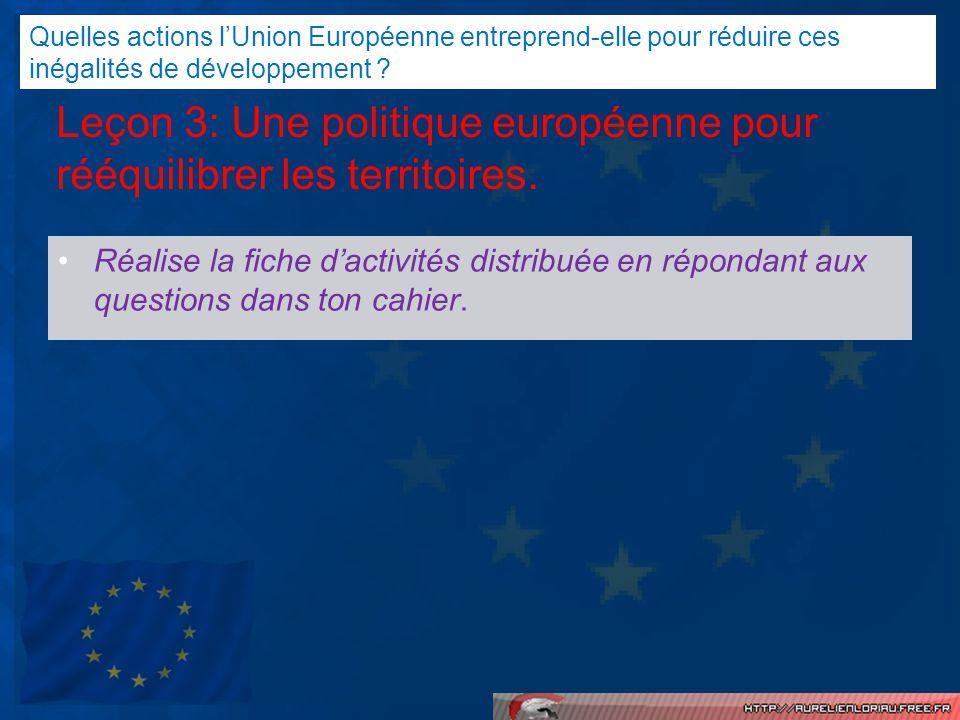 Leçon 3: Une politique européenne pour rééquilibrer les territoires.