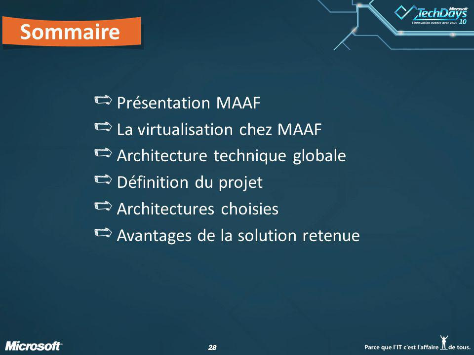 Sommaire Présentation MAAF La virtualisation chez MAAF