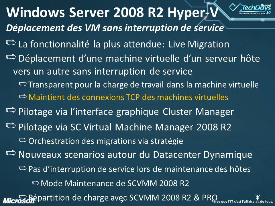 Windows Server 2008 R2 Hyper-V Déplacement des VM sans interruption de service