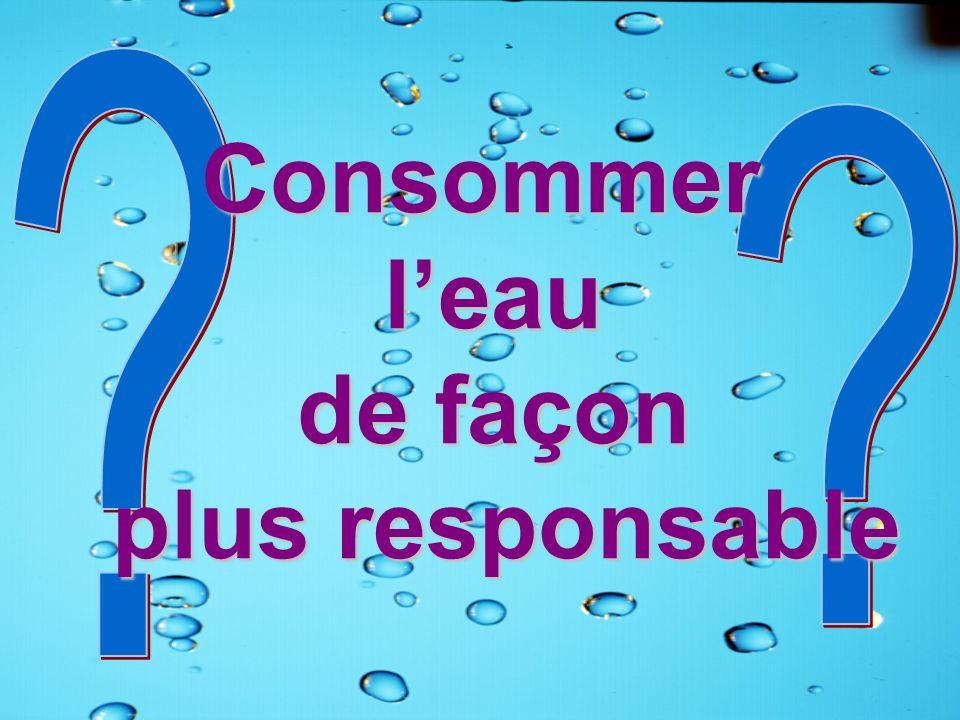 Consommer l'eau de façon plus responsable