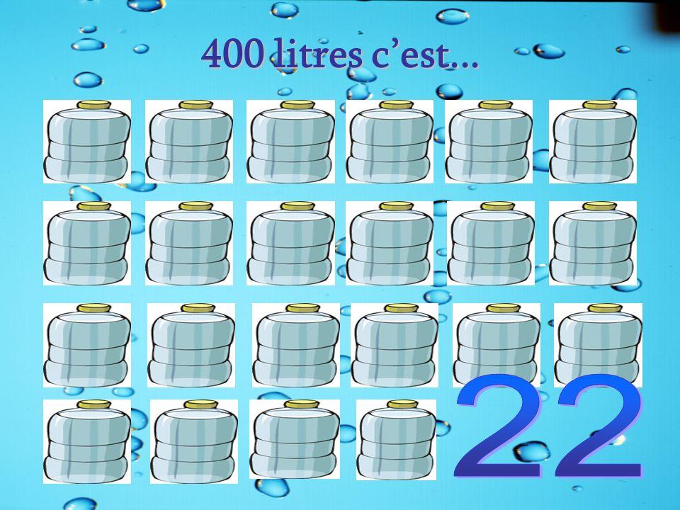 400 litres c'est...400 litres d'eau par jour c'est 22 grandes bouteilles bleues de 18 L.