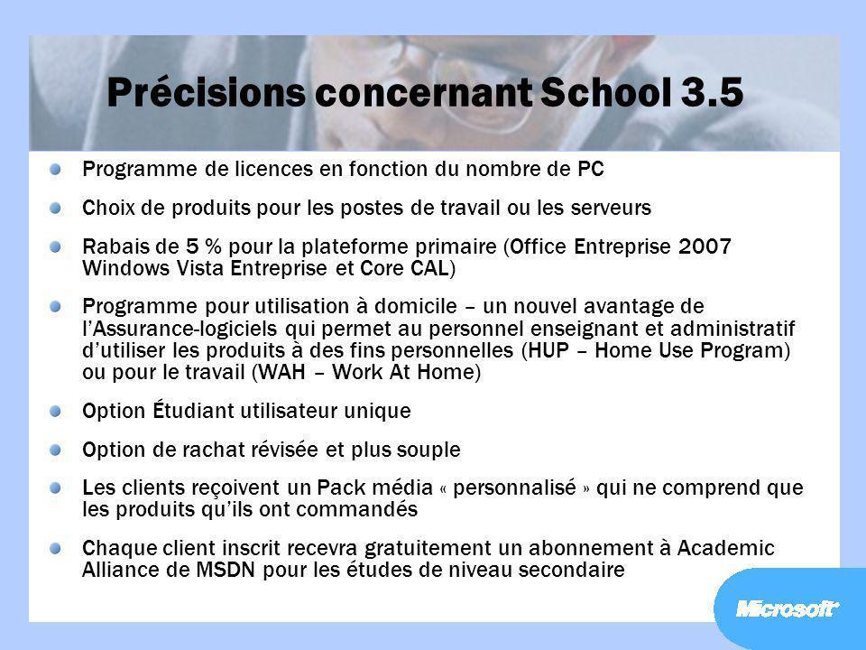 Précisions concernant School 3.5
