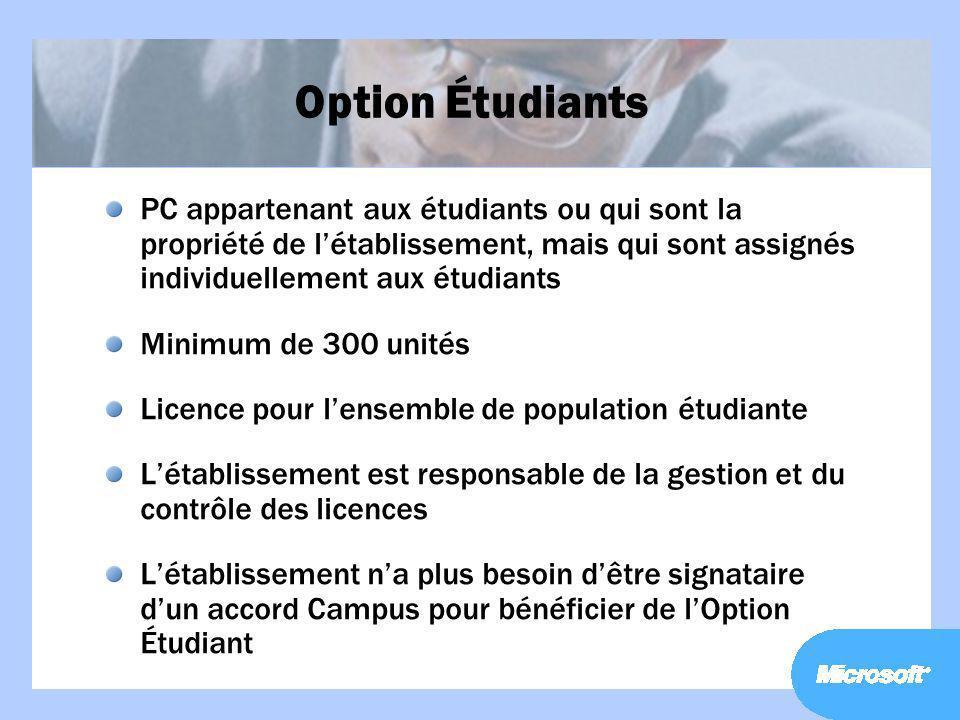 Option Étudiants PC appartenant aux étudiants ou qui sont la propriété de l'établissement, mais qui sont assignés individuellement aux étudiants.
