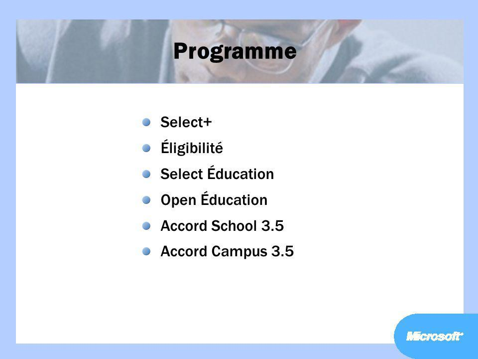 Programme Select+ Éligibilité Select Éducation Open Éducation
