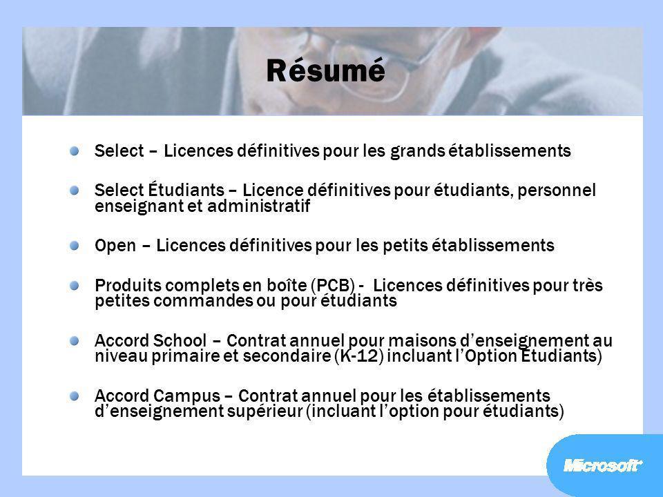 Résumé Select – Licences définitives pour les grands établissements