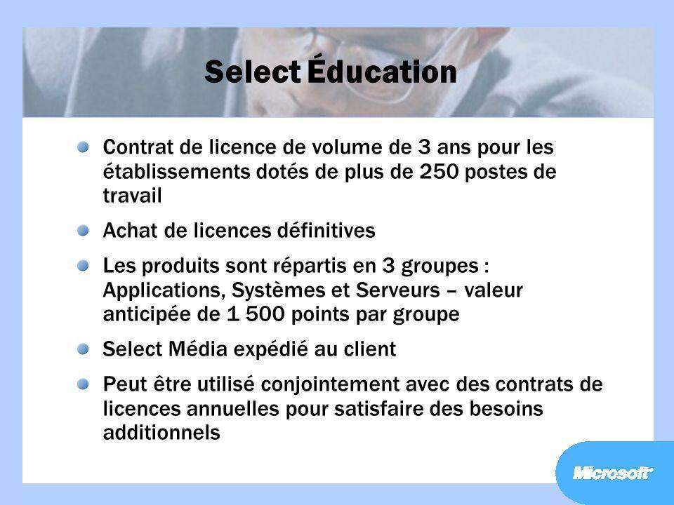 Select Éducation Contrat de licence de volume de 3 ans pour les établissements dotés de plus de 250 postes de travail.