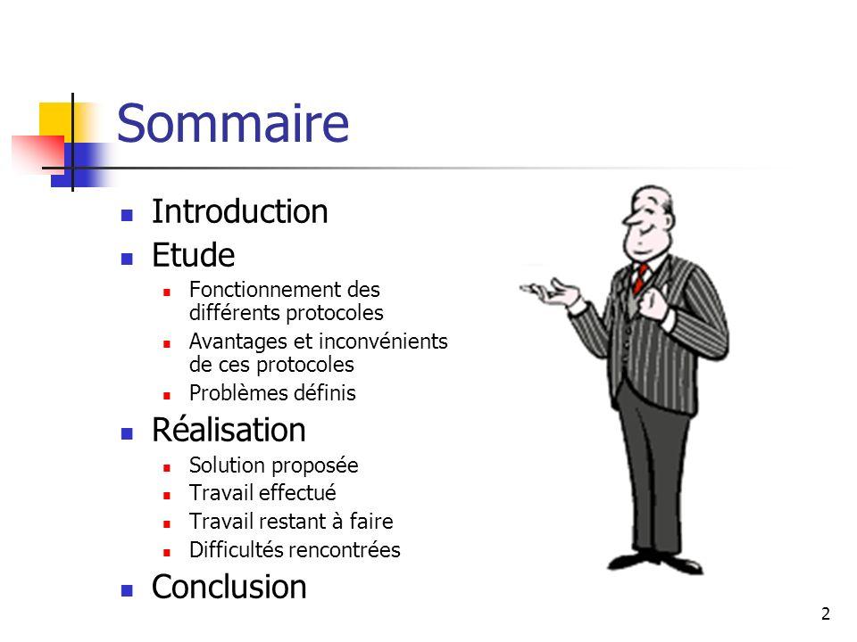 Sommaire Introduction Etude Réalisation Conclusion