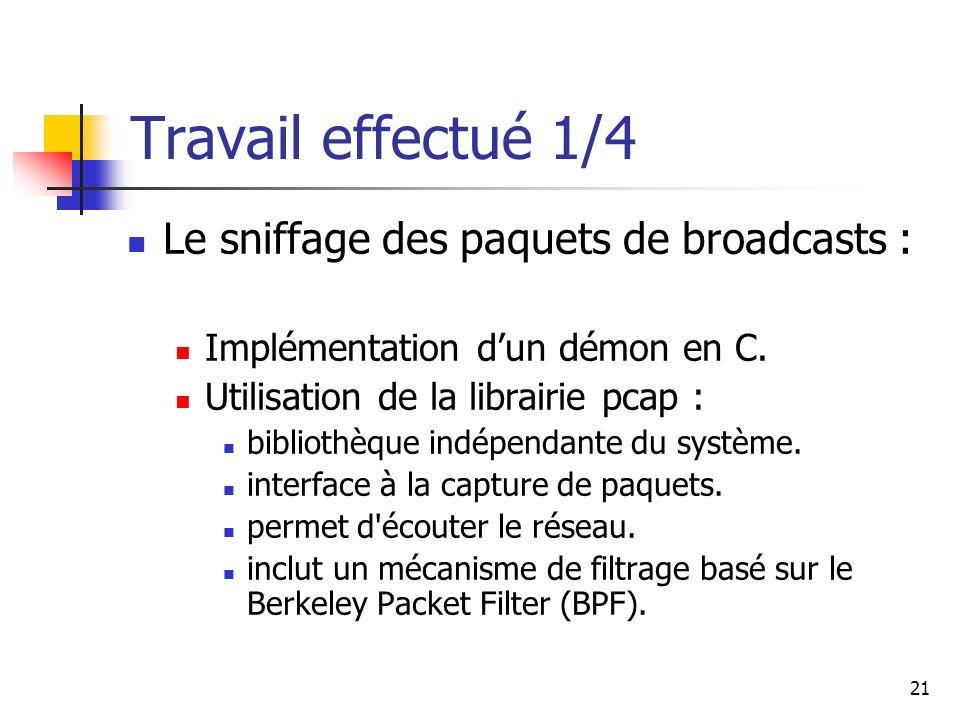 Travail effectué 1/4 Le sniffage des paquets de broadcasts :