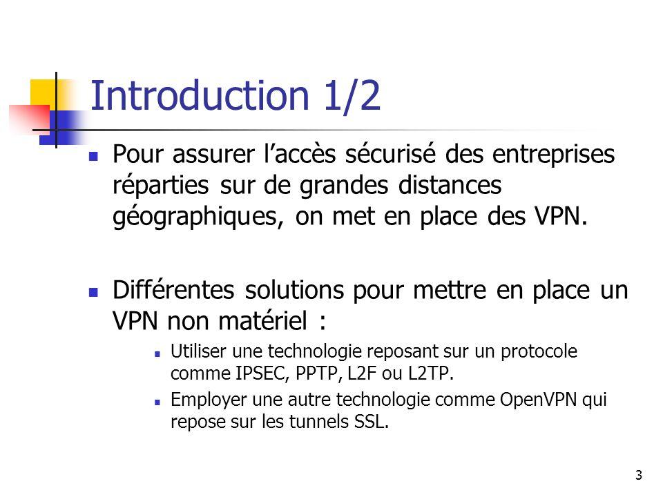 Introduction 1/2 Pour assurer l'accès sécurisé des entreprises réparties sur de grandes distances géographiques, on met en place des VPN.