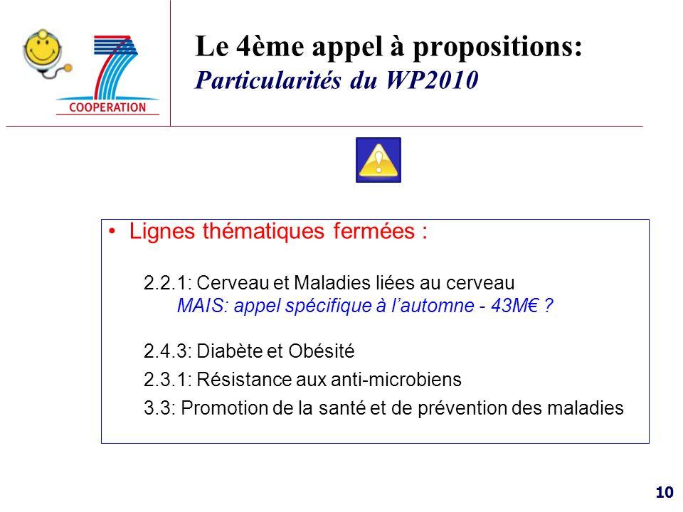 Le 4ème appel à propositions: Particularités du WP2010