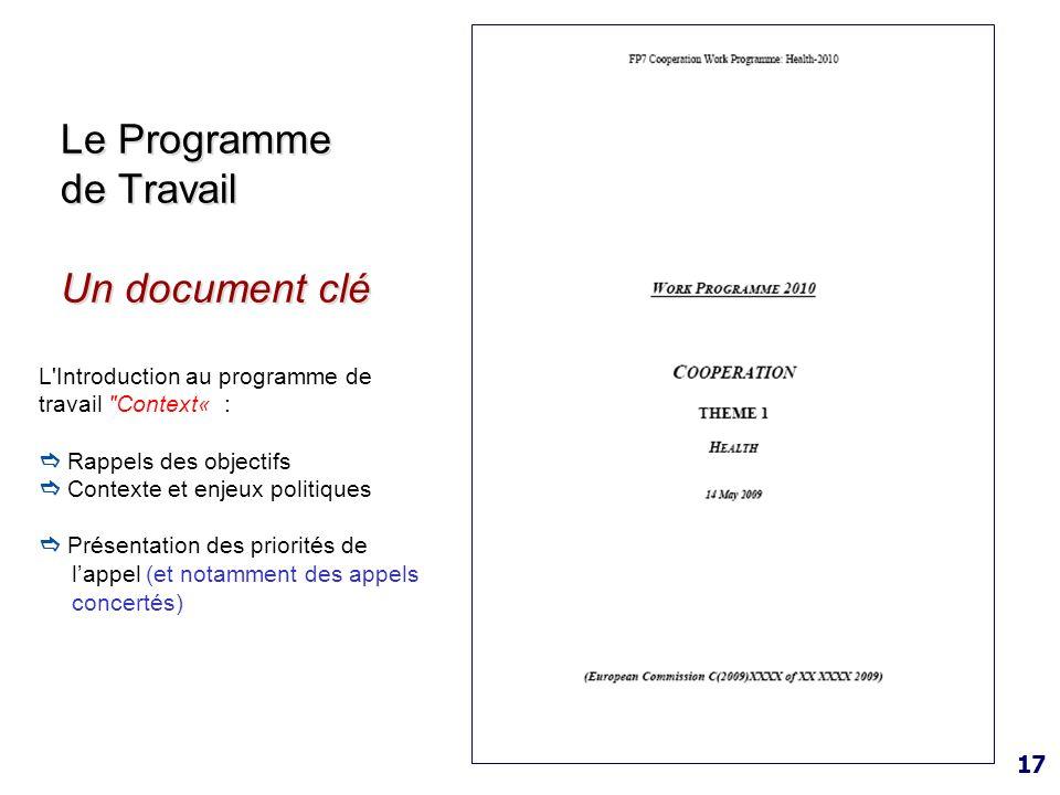 Le Programme de Travail Un document clé