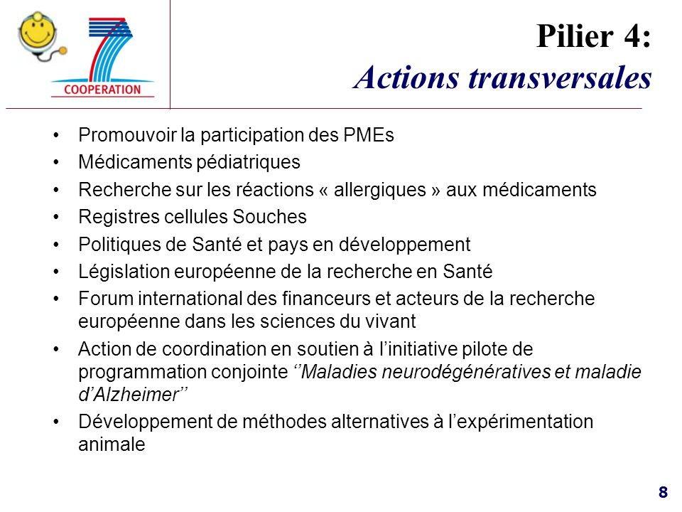 Pilier 4: Actions transversales