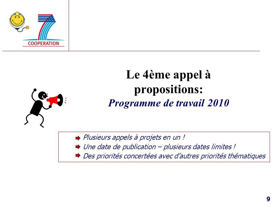 Le 4ème appel à propositions: Programme de travail 2010