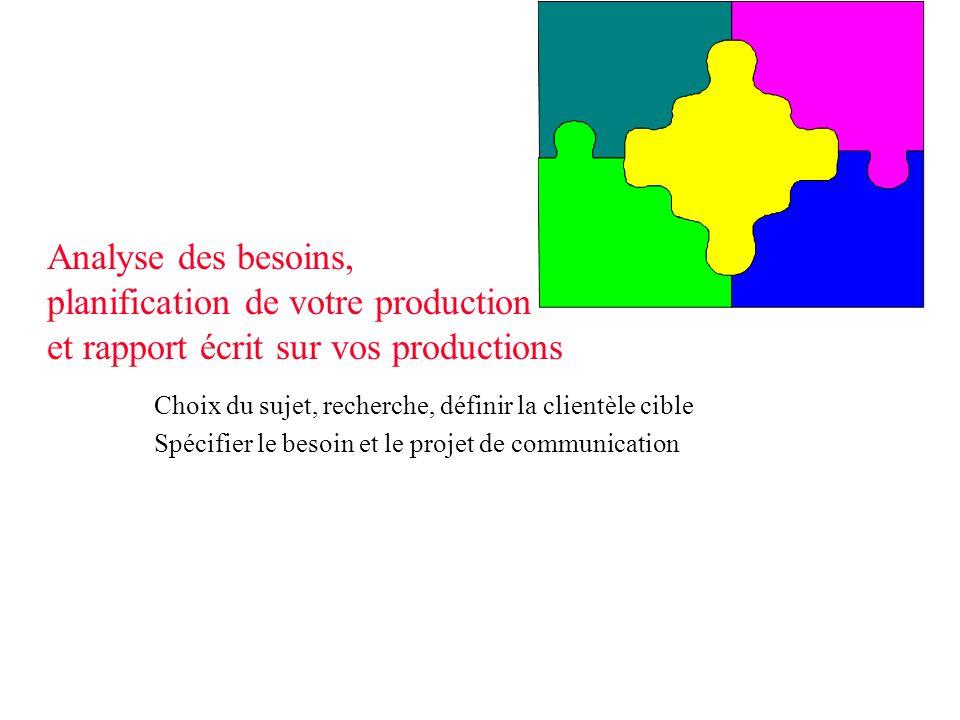 Analyse des besoins, planification de votre production et rapport écrit sur vos productions
