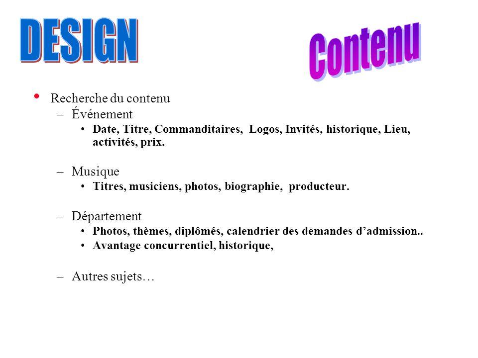 Contenu DESIGN Recherche du contenu Événement Musique Département