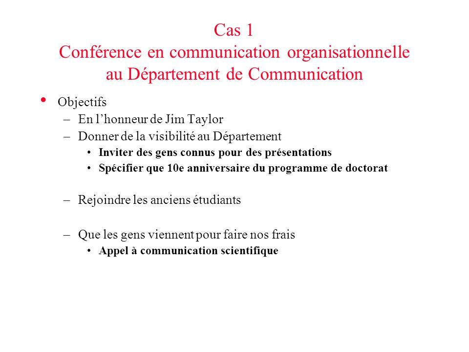 Cas 1 Conférence en communication organisationnelle au Département de Communication