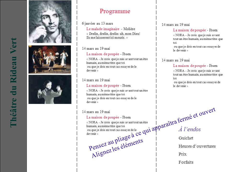 Théâtre du Rideau Vert Programme