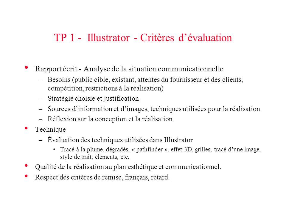 TP 1 - Illustrator - Critères d'évaluation