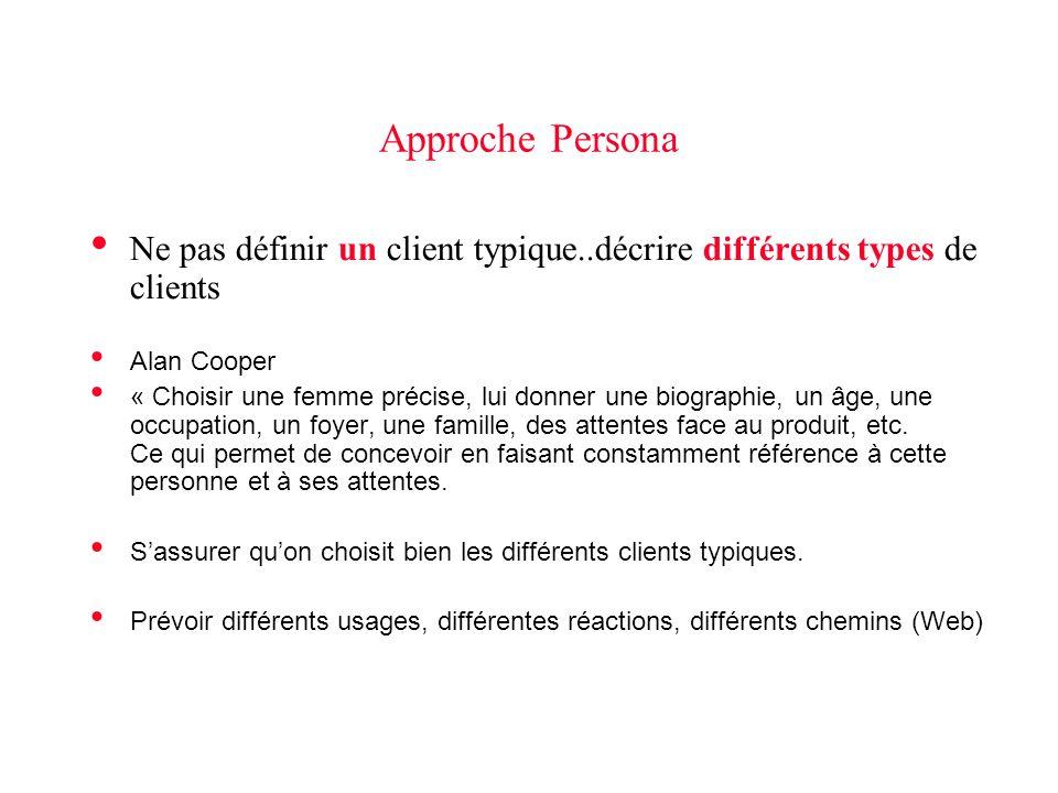 Approche Persona Ne pas définir un client typique..décrire différents types de clients. Alan Cooper.
