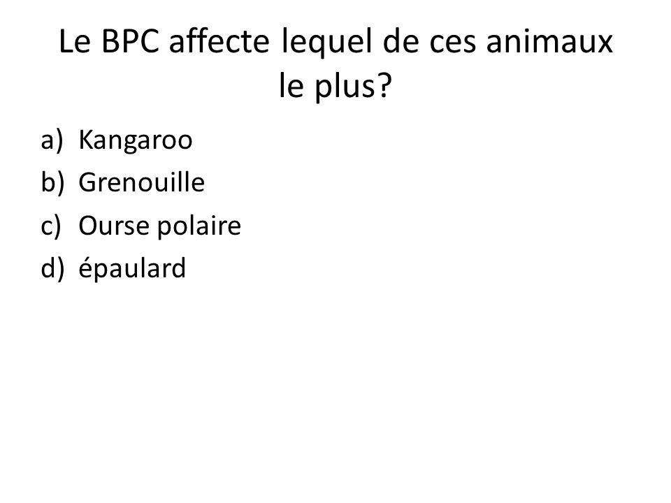 Le BPC affecte lequel de ces animaux le plus