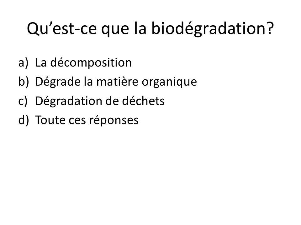 Qu'est-ce que la biodégradation