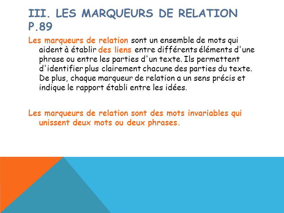 IiI. Les marqueurs de relation p.89